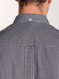 FRED PERRY CLASSIC GINGHAM SHIRT IN BLACK  - 4