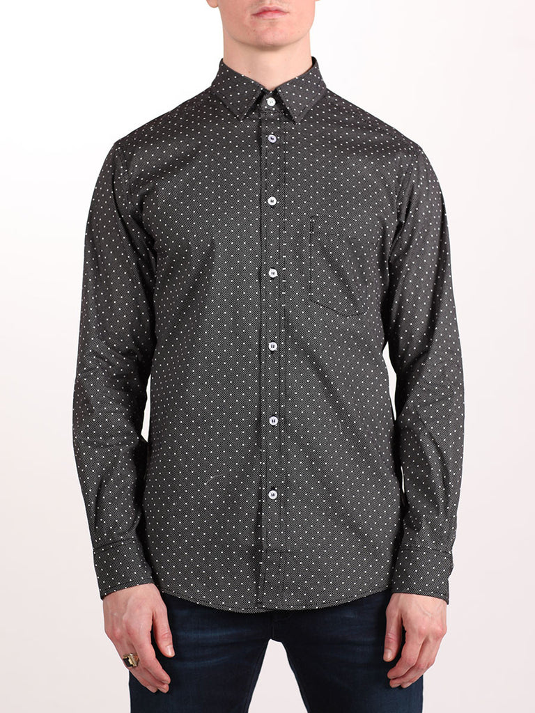 WORKSHOP COTTON BUTTON UP SHIRT IN BLACK POLKA DOT PRINT  - 1