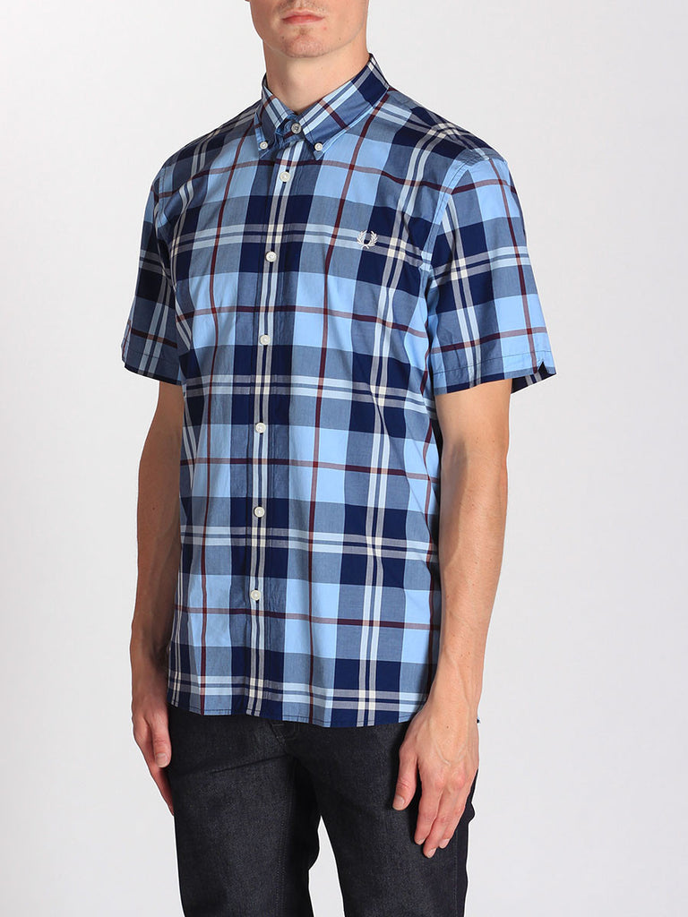 FRED PERRY BOLD CHECK SHIRT IN GLACIER  - 2