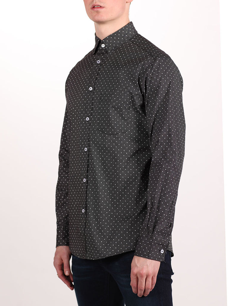WORKSHOP COTTON BUTTON UP SHIRT IN BLACK POLKA DOT PRINT  - 2