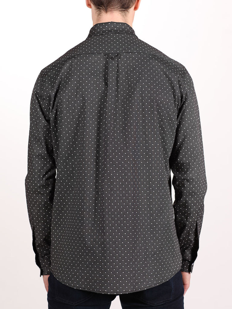 WORKSHOP COTTON BUTTON UP SHIRT IN BLACK POLKA DOT PRINT  - 3
