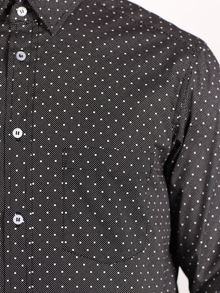 WORKSHOP COTTON BUTTON UP SHIRT IN BLACK POLKA DOT PRINT  - 4