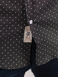 WORKSHOP COTTON BUTTON UP SHIRT IN BLACK POLKA DOT PRINT  - 5