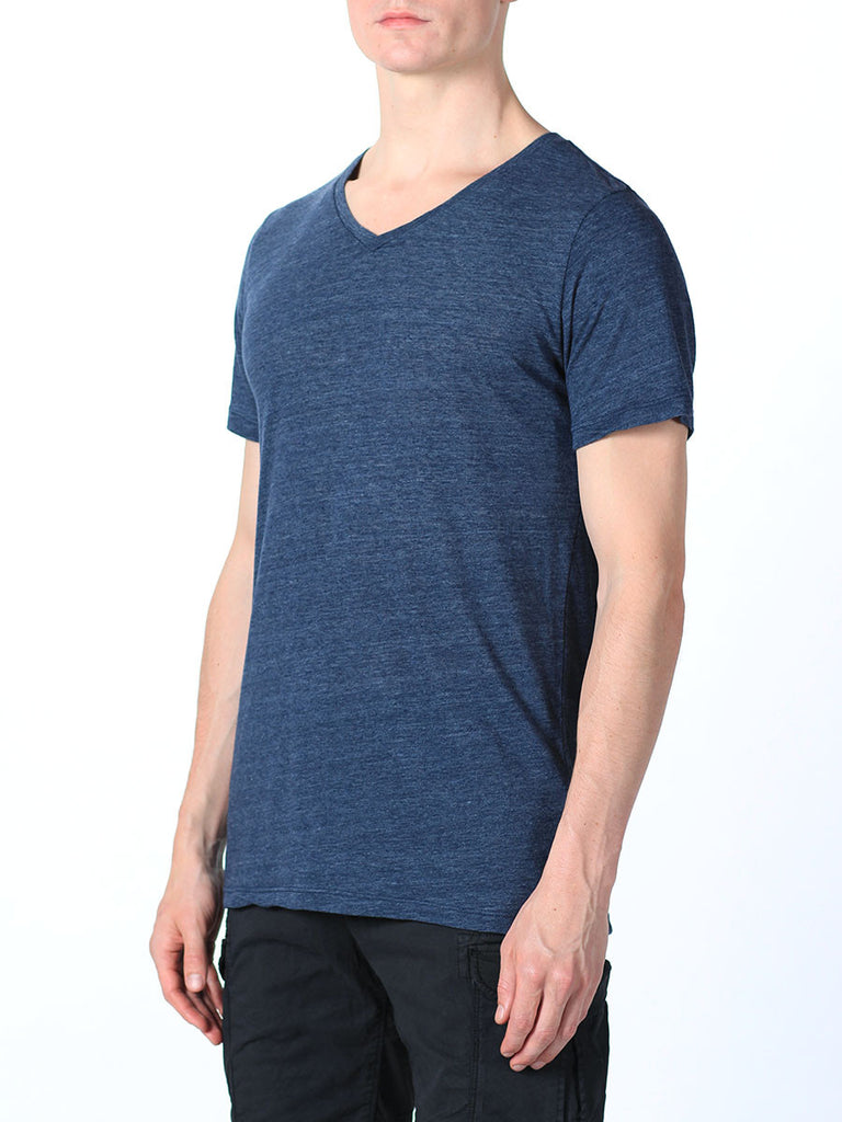 WORKSHOP PREMIUM V-NECK T-SHIRT IN NAVY  - 2