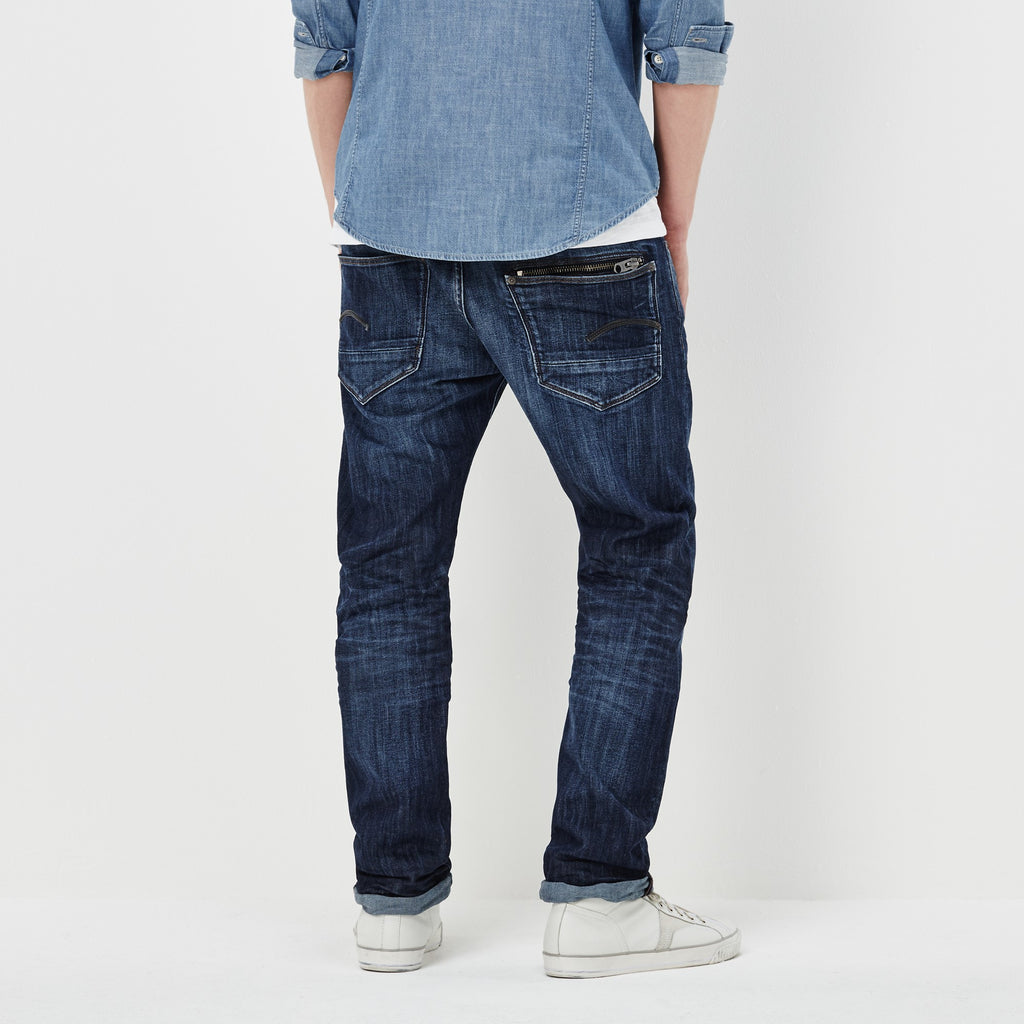 G-STAR ATTACC STRAIGHT BLUE DELM STRETCH DENIM IN DARK AGED WASH  - 2