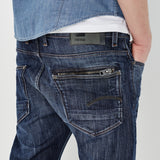 G-STAR ATTACC STRAIGHT BLUE DELM STRETCH DENIM IN DARK AGED WASH  - 3