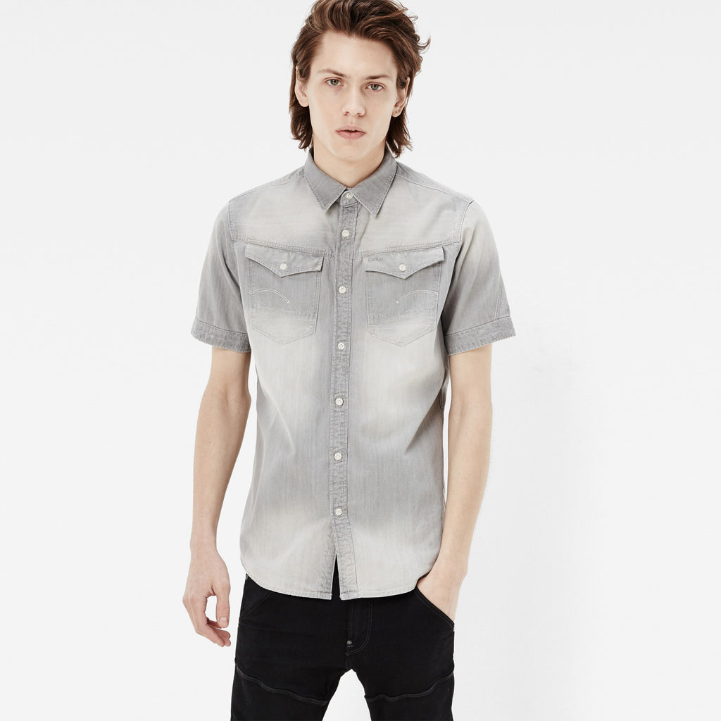 G-STAR ARC 3D SHORT SLEEVE SHIRT IN LIGHT AGED WASH  - 1