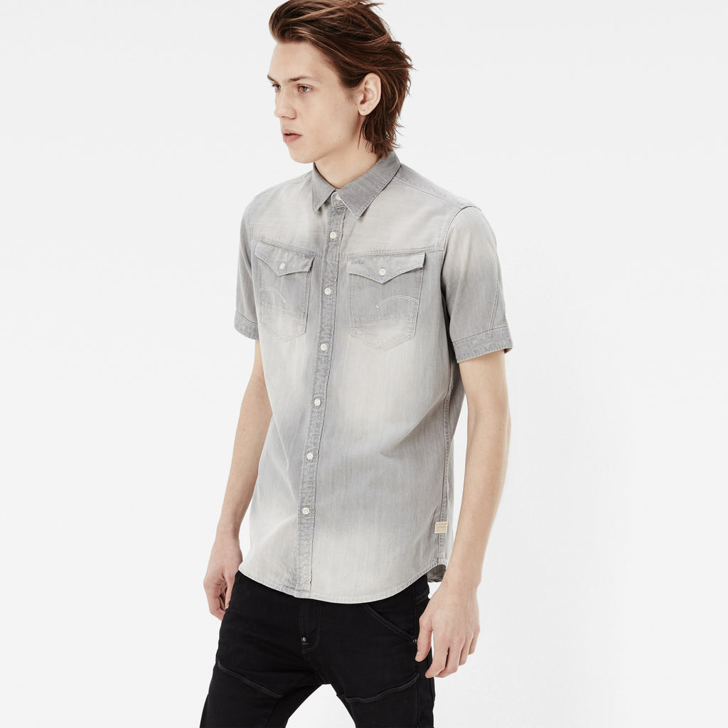 G-STAR ARC 3D SHORT SLEEVE SHIRT IN LIGHT AGED WASH  - 2