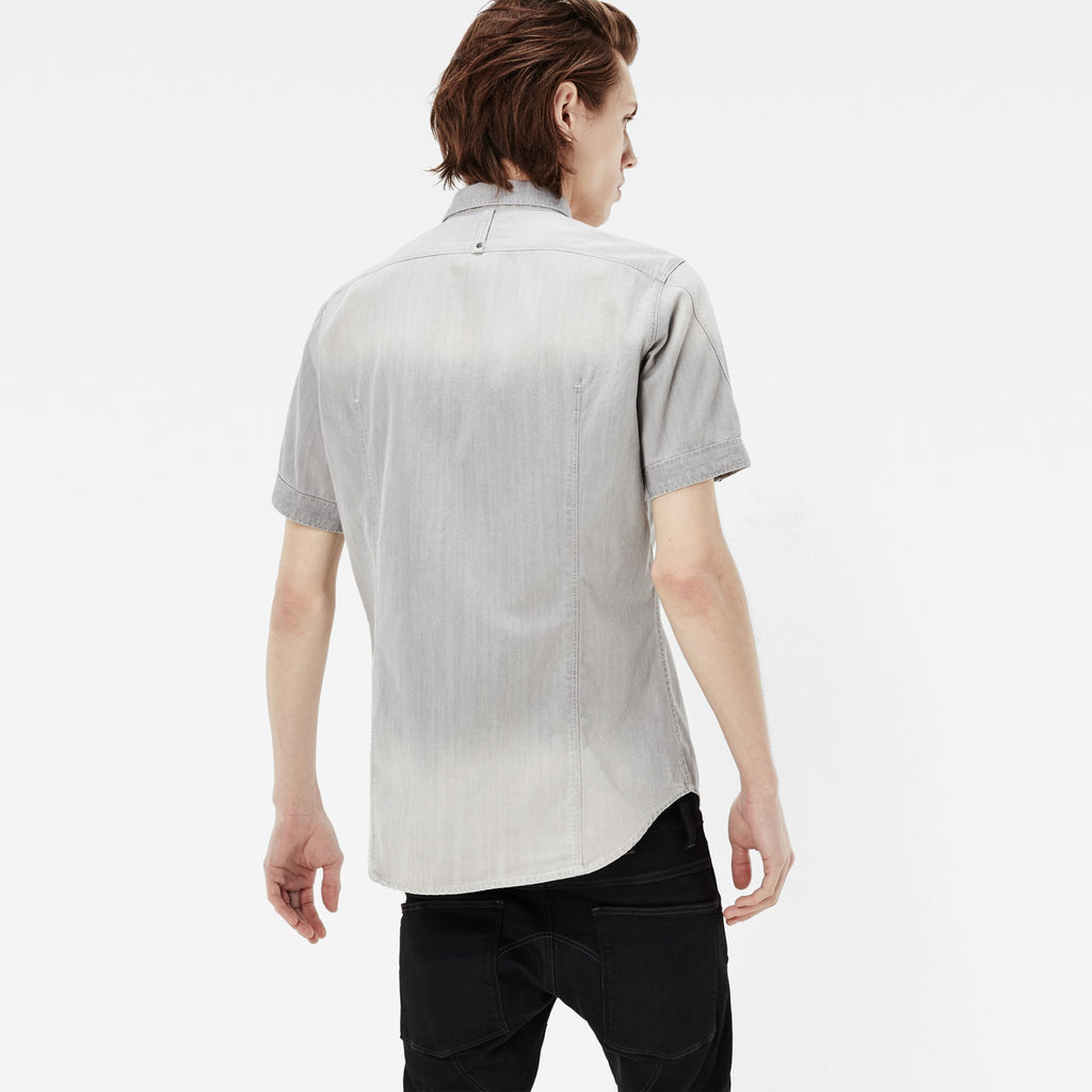 G-STAR ARC 3D SHORT SLEEVE SHIRT IN LIGHT AGED WASH  - 3