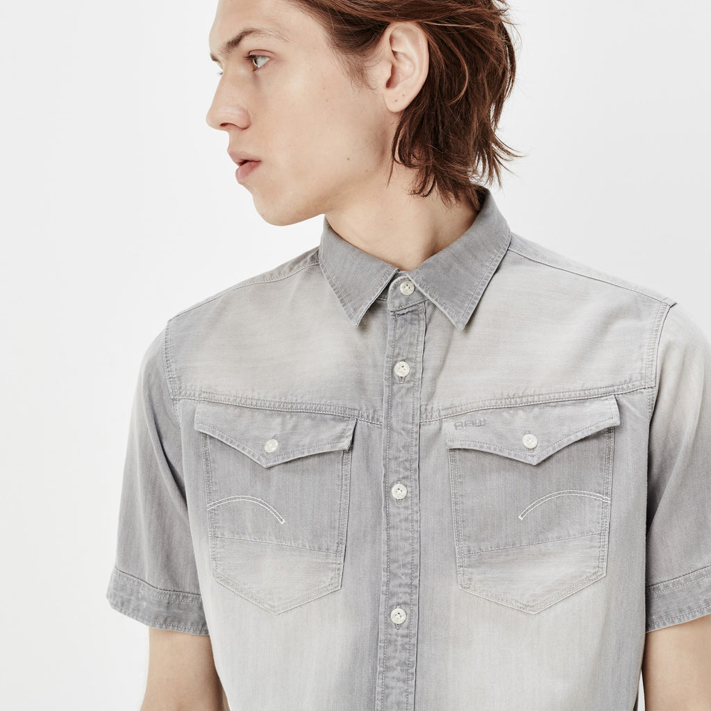 G-STAR ARC 3D SHORT SLEEVE SHIRT IN LIGHT AGED WASH  - 4