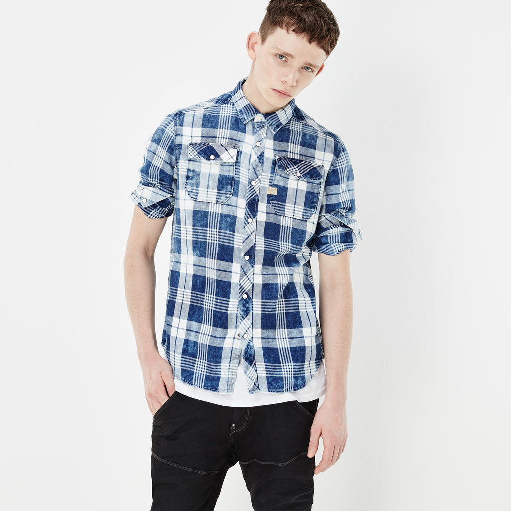 G-STAR LANDOH SHIRT IN INDIGO AND MILK CHECK  - 1