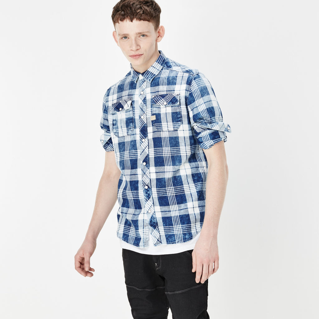 G-STAR LANDOH SHIRT IN INDIGO AND MILK CHECK  - 2