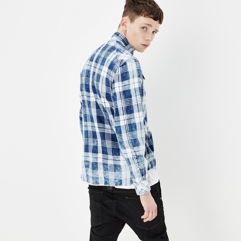 G-STAR LANDOH SHIRT IN INDIGO AND MILK CHECK  - 3