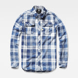 G-STAR LANDOH SHIRT IN INDIGO AND MILK CHECK  - 4