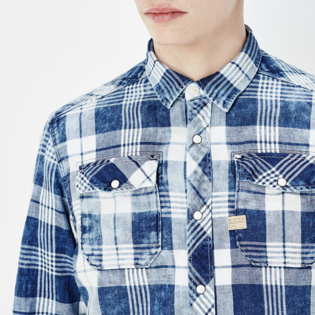 G-STAR LANDOH SHIRT IN INDIGO AND MILK CHECK  - 5