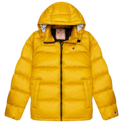 CHAMPION REVERSE WEAVE CRINKLE NYLON PUFFER JACKET IN SUNNY YELLOW