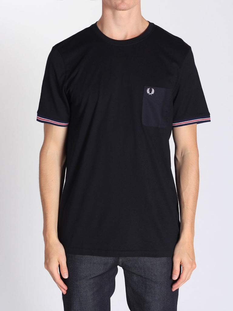 FRED PERRY BOMBER STRIPE CUFF T-SHIRT IN NAVY