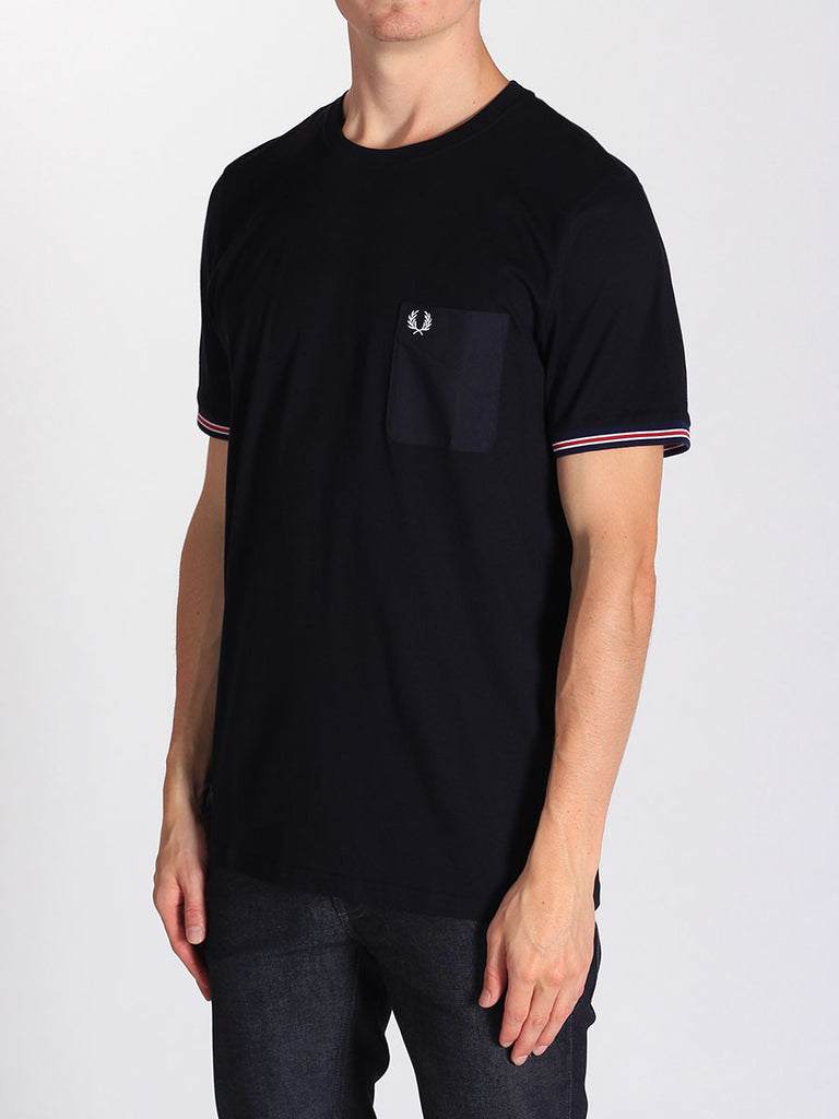 FRED PERRY BOMBER STRIPE CUFF T-SHIRT IN NAVY  - 2