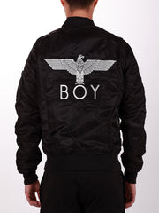 BOY LONDON REVERSIBLE BOMBER JACKET IN BLACK WITH WHITE EAGLE  - 1