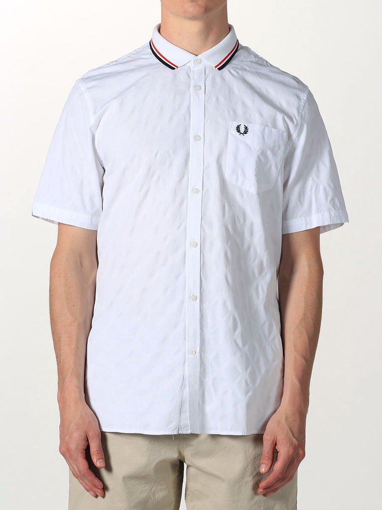 FRED PERRY JACQUARD POLKA DOT KNIT SHIRT IN WHITE  - 1