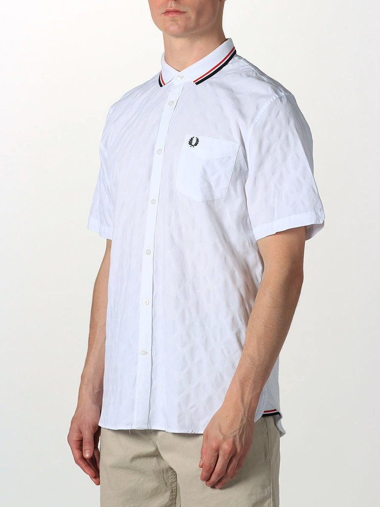 FRED PERRY JACQUARD POLKA DOT KNIT SHIRT IN WHITE  - 2