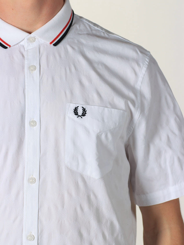 FRED PERRY JACQUARD POLKA DOT KNIT SHIRT IN WHITE  - 4