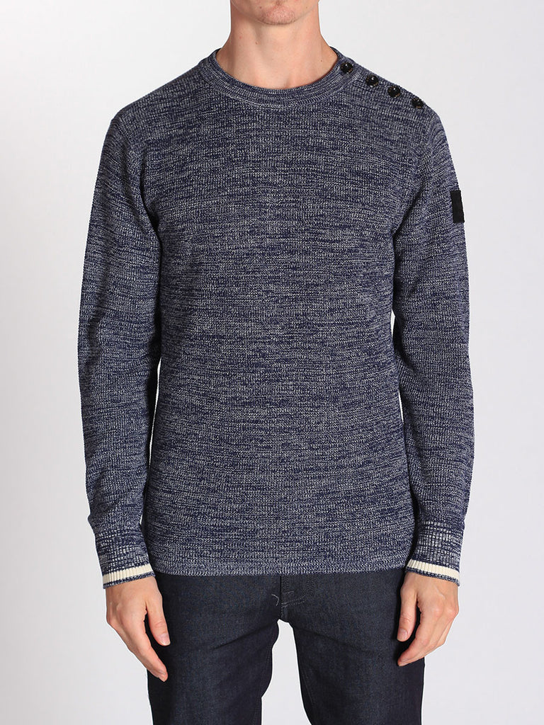 G-STAR ZADIUS KNIT SWEATER IN IMPERIAL BLUE AND IVORY  - 1