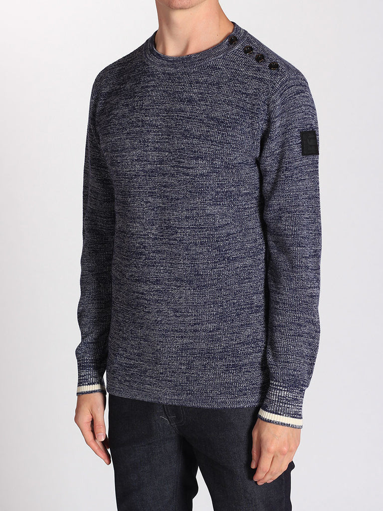 G-STAR ZADIUS KNIT SWEATER IN IMPERIAL BLUE AND IVORY  - 2