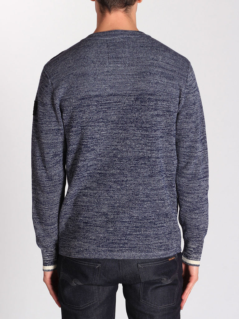 G-STAR ZADIUS KNIT SWEATER IN IMPERIAL BLUE AND IVORY  - 3