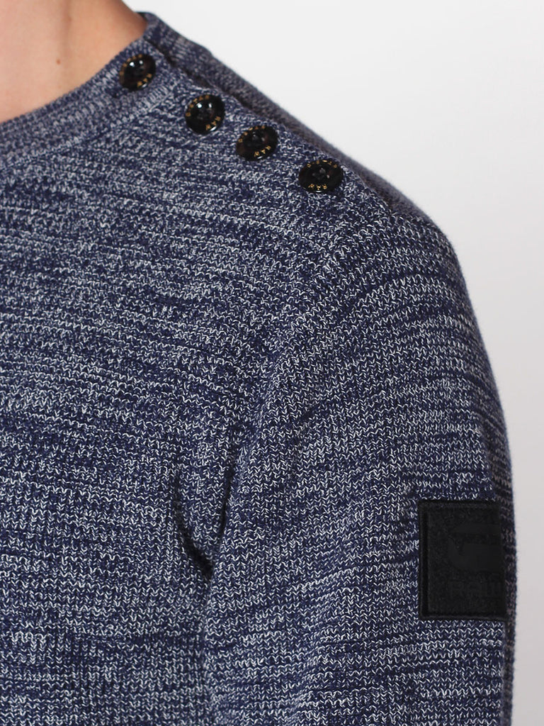 G-STAR ZADIUS KNIT SWEATER IN IMPERIAL BLUE AND IVORY  - 4