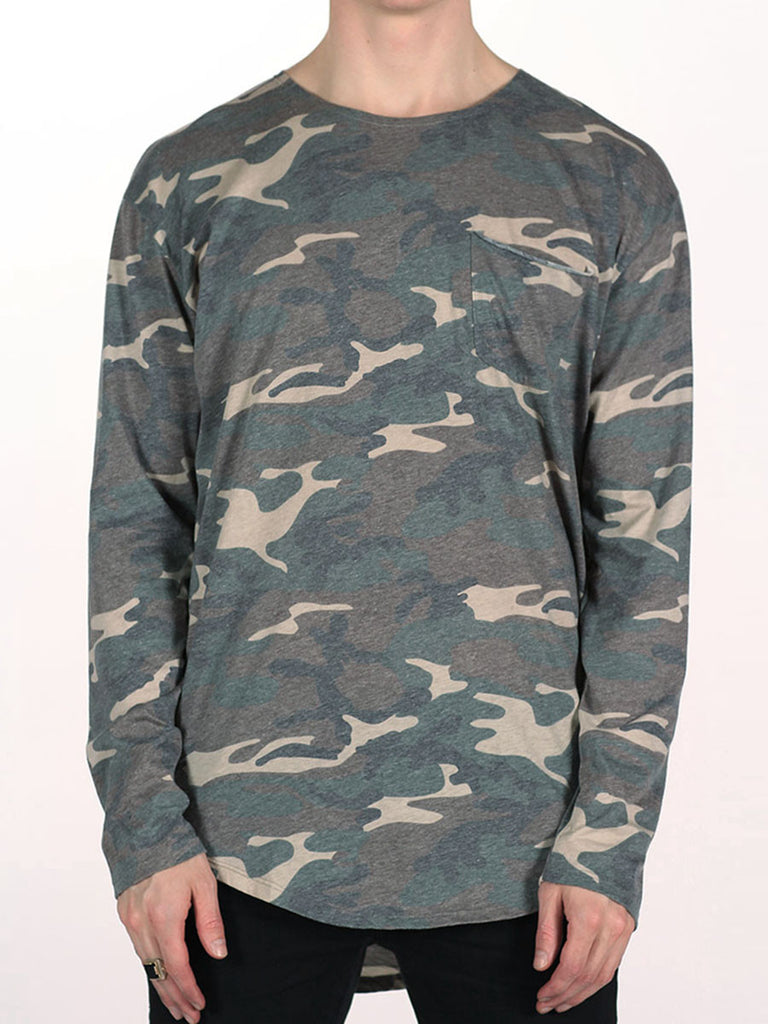 WORKSHOP PREMIUM SCOOP BASEBALL LONGSLEEVE T-SHIRT IN CAMO  - 1