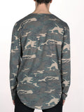 WORKSHOP PREMIUM SCOOP BASEBALL LONGSLEEVE T-SHIRT IN CAMO  - 3