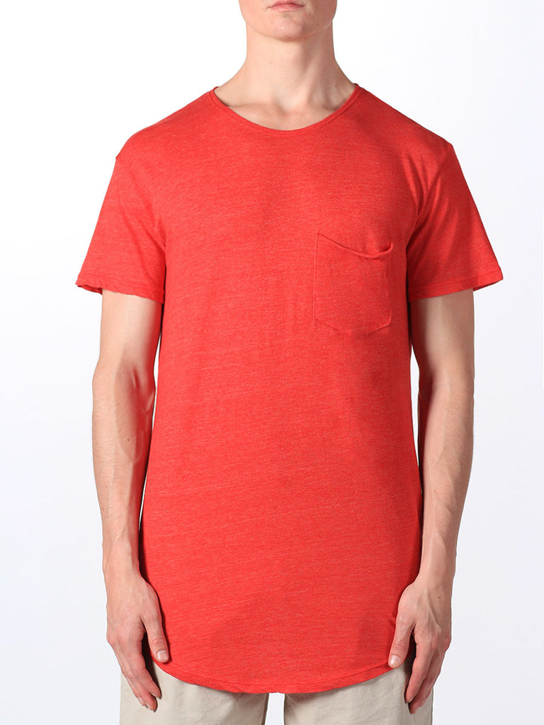 WORKSHOP PREMIUM SCOOP BASEBALL T-SHIRT IN RED