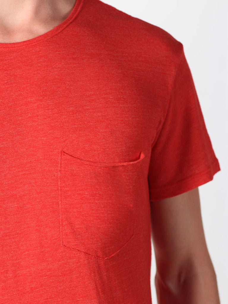 WORKSHOP PREMIUM SCOOP BASEBALL T-SHIRT IN RED  - 4