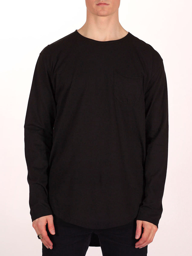 WORKSHOP PREMIUM SCOOP BASEBALL LONGSLEEVE T-SHIRT IN BLACK  - 1