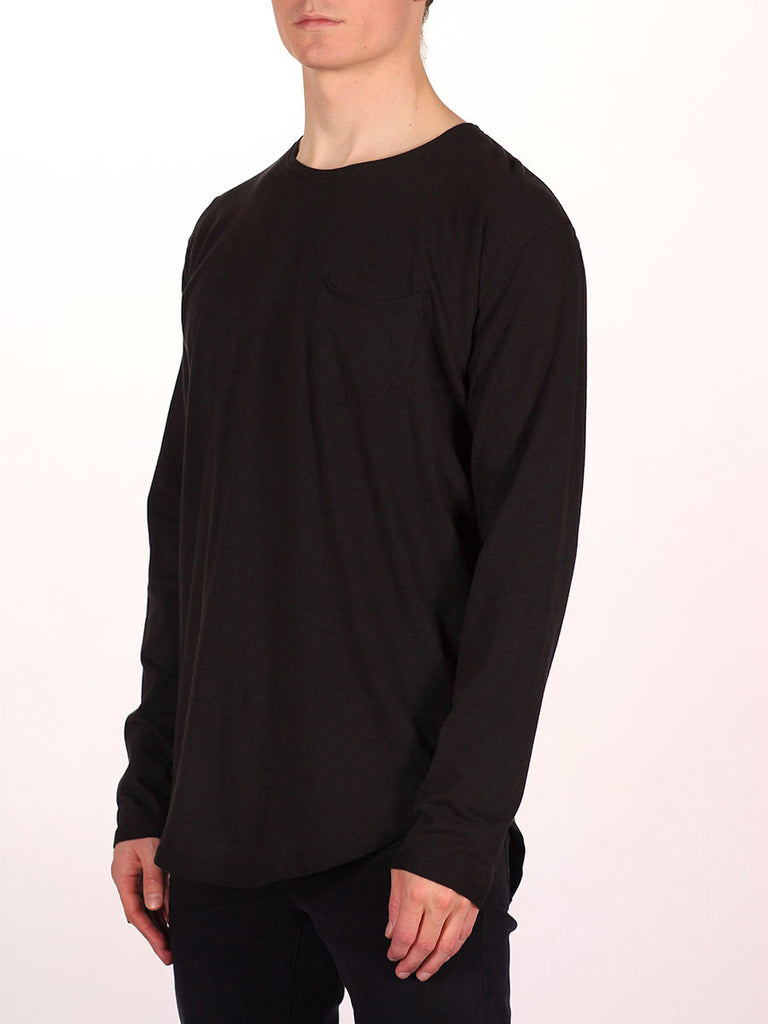 WORKSHOP PREMIUM SCOOP BASEBALL LONGSLEEVE T-SHIRT IN BLACK  - 2