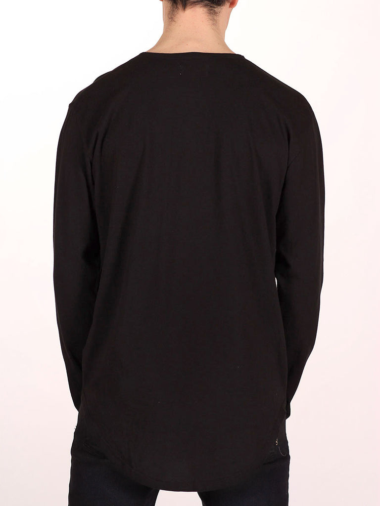 WORKSHOP PREMIUM SCOOP BASEBALL LONGSLEEVE T-SHIRT IN BLACK  - 3