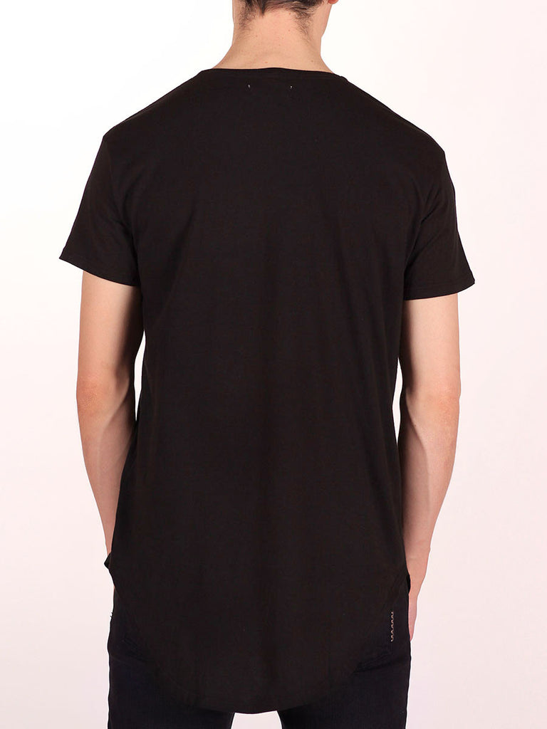 WORKSHOP PREMIUM SCOOP BASEBALL T-SHIRT IN BLACK  - 3
