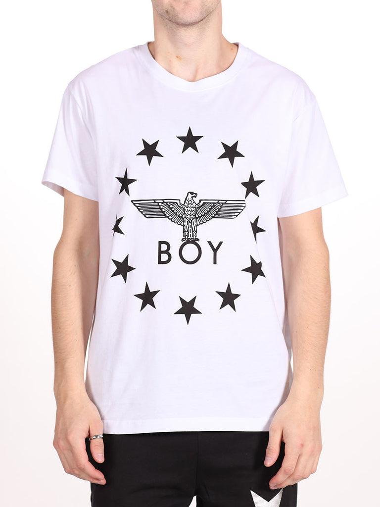 BOY LONDON GLOBE STAR TEE IN WHITE AND BLACK