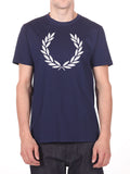 FRED PERRY OVERSIZED LOGO T-SHIRT IN NAVY  - 1