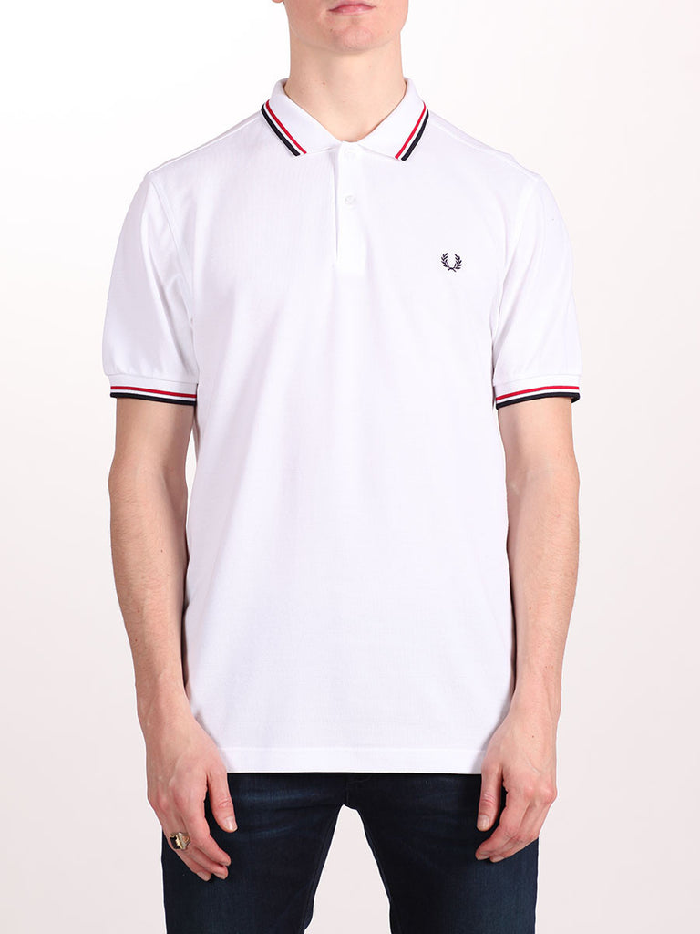 FRED PERRY SLIM FIT TWIN TIPPED SHIRT IN WHITE/RED/NAVY  - 1