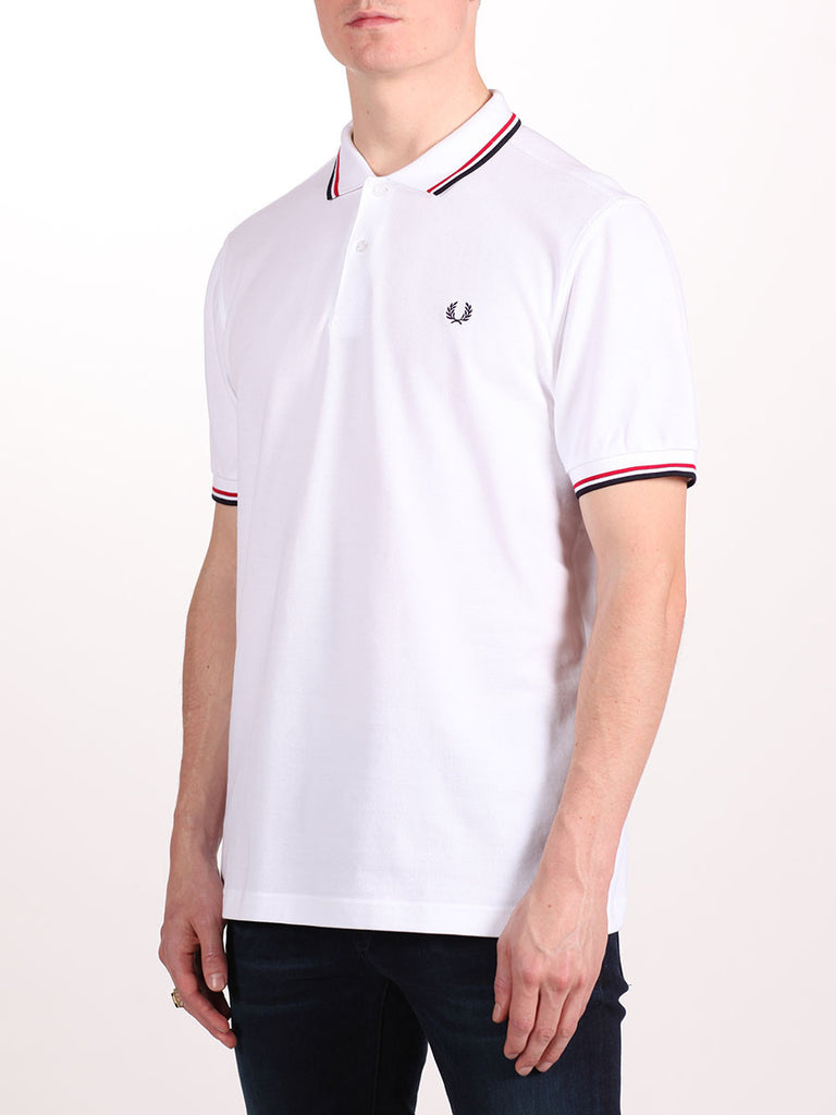 FRED PERRY SLIM FIT TWIN TIPPED SHIRT IN WHITE/RED/NAVY  - 2