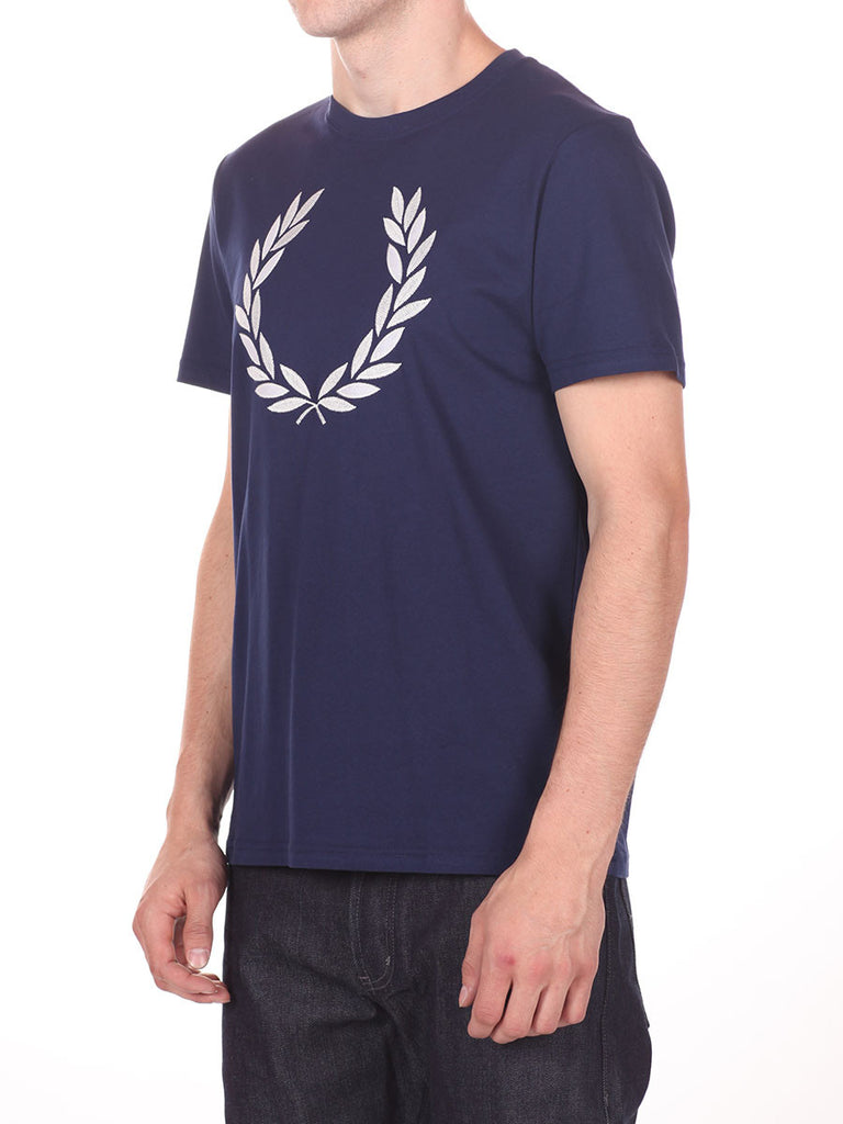 FRED PERRY OVERSIZED LOGO T-SHIRT IN NAVY  - 2