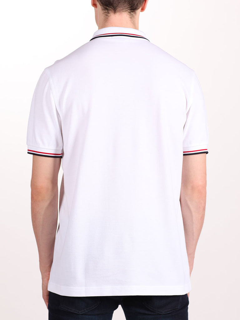 FRED PERRY SLIM FIT TWIN TIPPED SHIRT IN WHITE/RED/NAVY  - 3