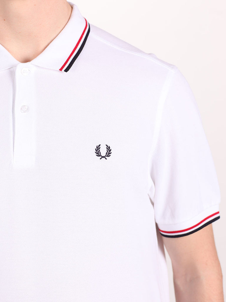 FRED PERRY SLIM FIT TWIN TIPPED SHIRT IN WHITE/RED/NAVY  - 4