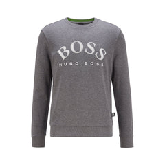 BOSS SALBO CREW NECK SWEATSHIRT IN MEDIUM GREY