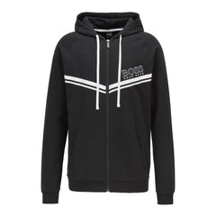 BOSS AUTHENTIC LOUNGEWEAR HOODIE WITH STRIPES AND LOGO IN BLACK