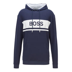 BOSS FASHION LIGHTWEIGHT FRENCH TERRY HOODIE IN DARK BLUE