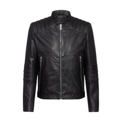 HUGO LOSCAR SLIM-FIT NAPPA LEATHER BIKER JACKET IN BLACK