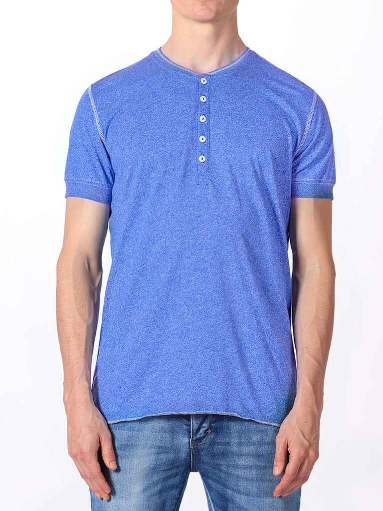WORKSHOP SHORT-SLEEVE HENLEY IN INDIGO  - 1